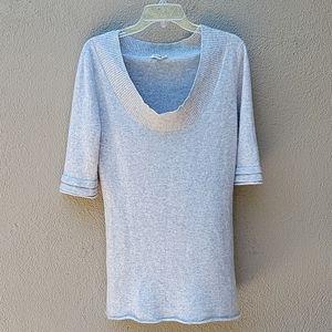 LA MADE 100% soft cozy gray cashmere tunic sweater